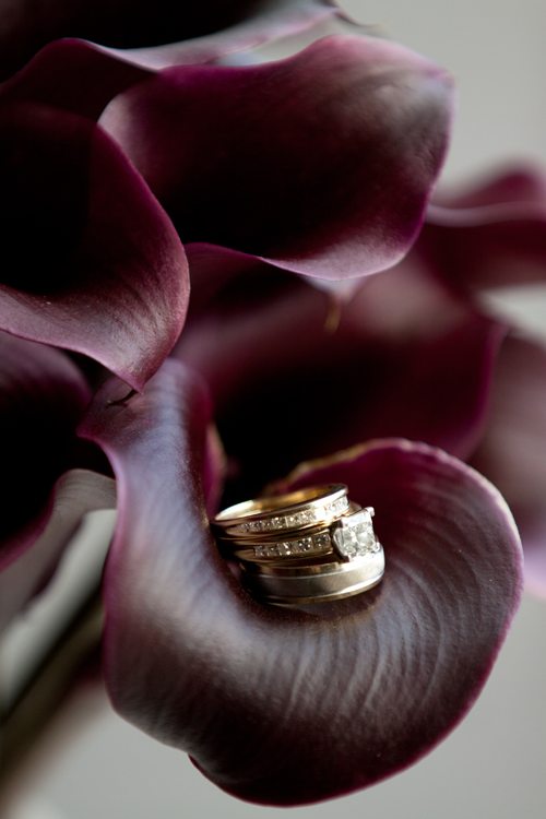 oregon wedding ring close up purple flowers