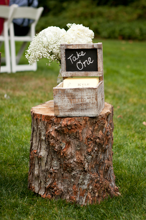 chalkboard wedding program holder