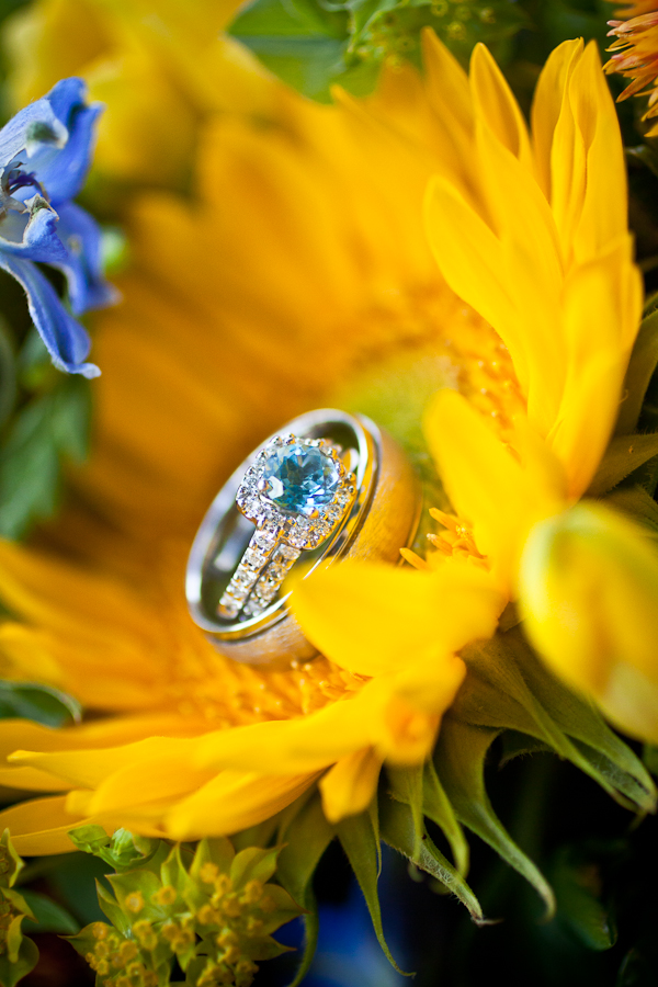 yellow sunflower with blue stone wedding ring