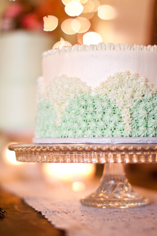 white and light green wedding cake