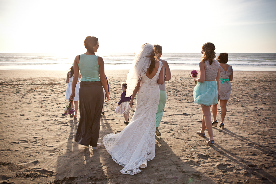 oregon beach wedding party