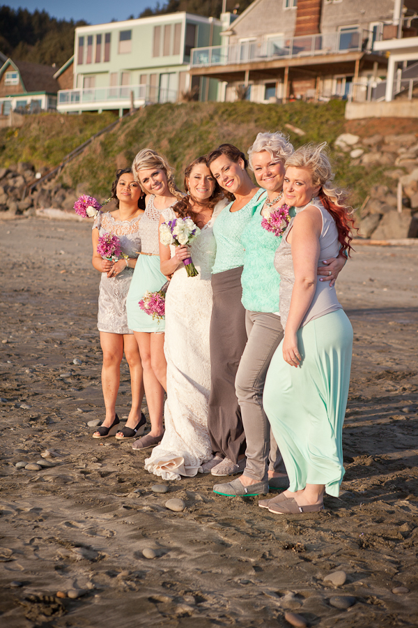 sea foam green and purple pink bridal party