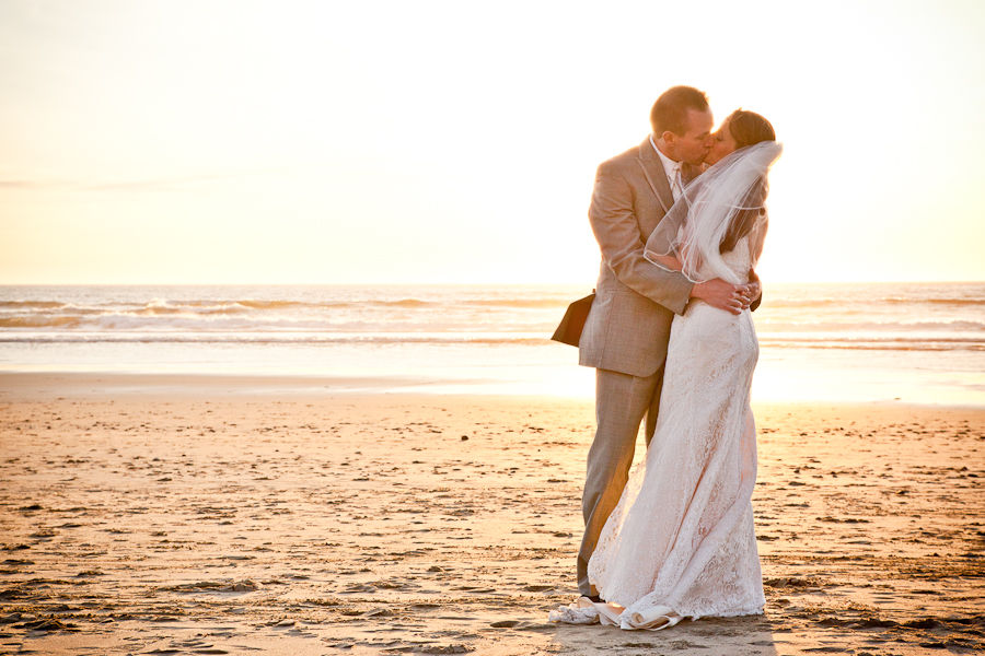 oregon sunset beach wedding portrait
