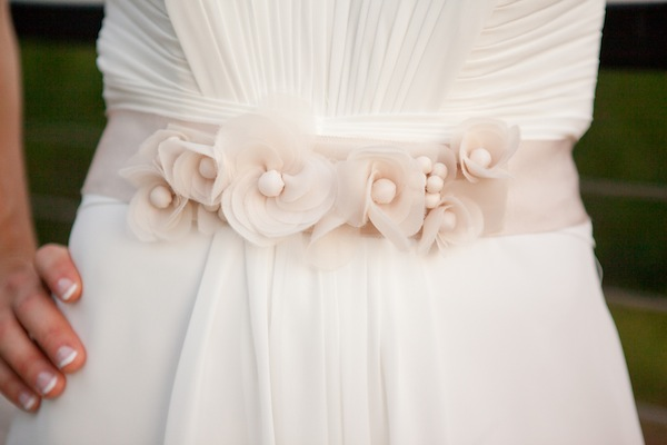 off white fabric flower wedding sash