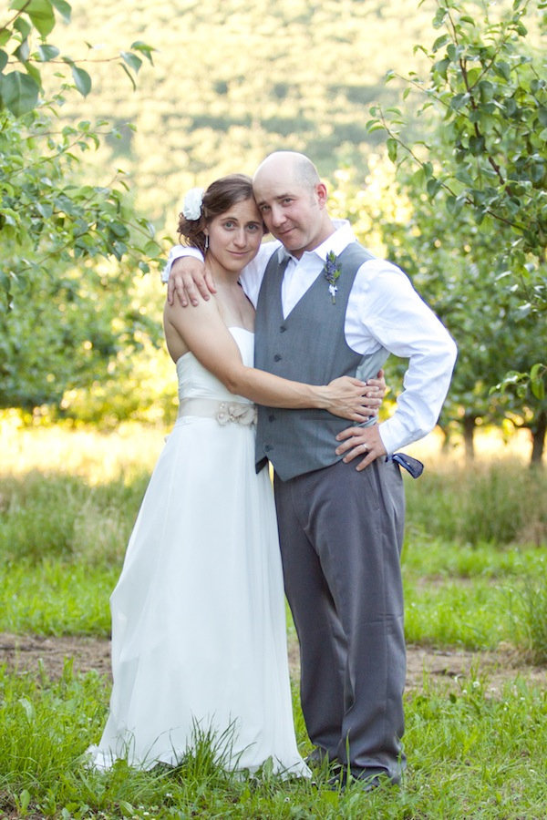 wedding orchard portrait
