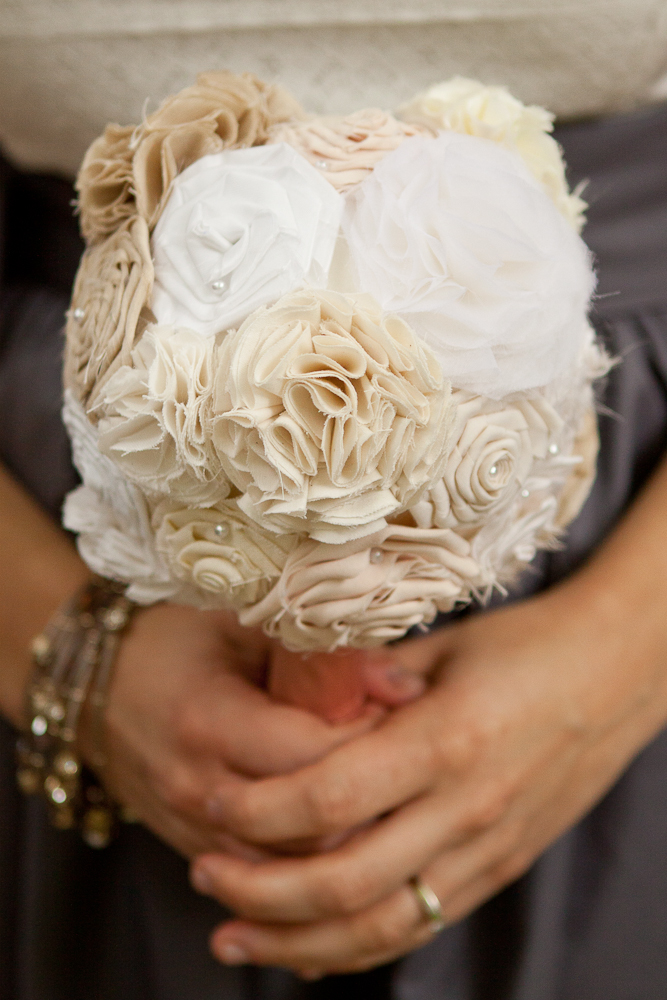 white and cream fabric flower bouquet