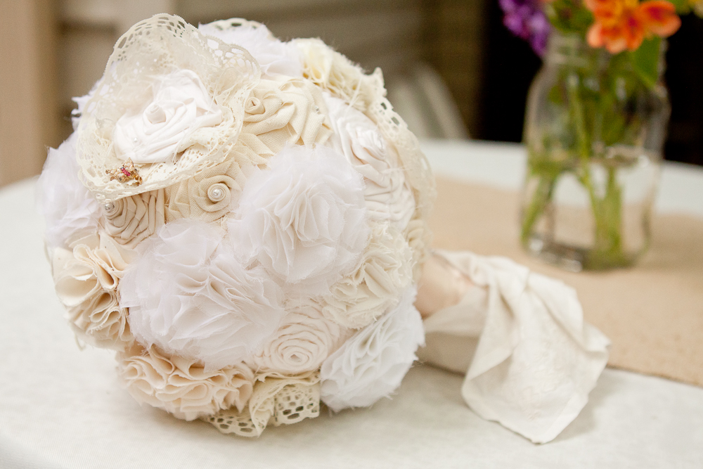fabric and lace flower bouquet
