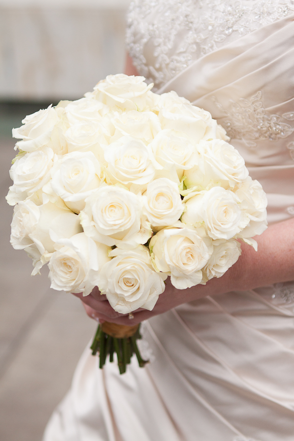 cream rose wedding bouquet