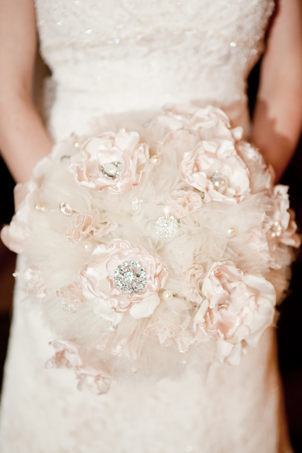 tulle silk fabric flower bouquet wedding