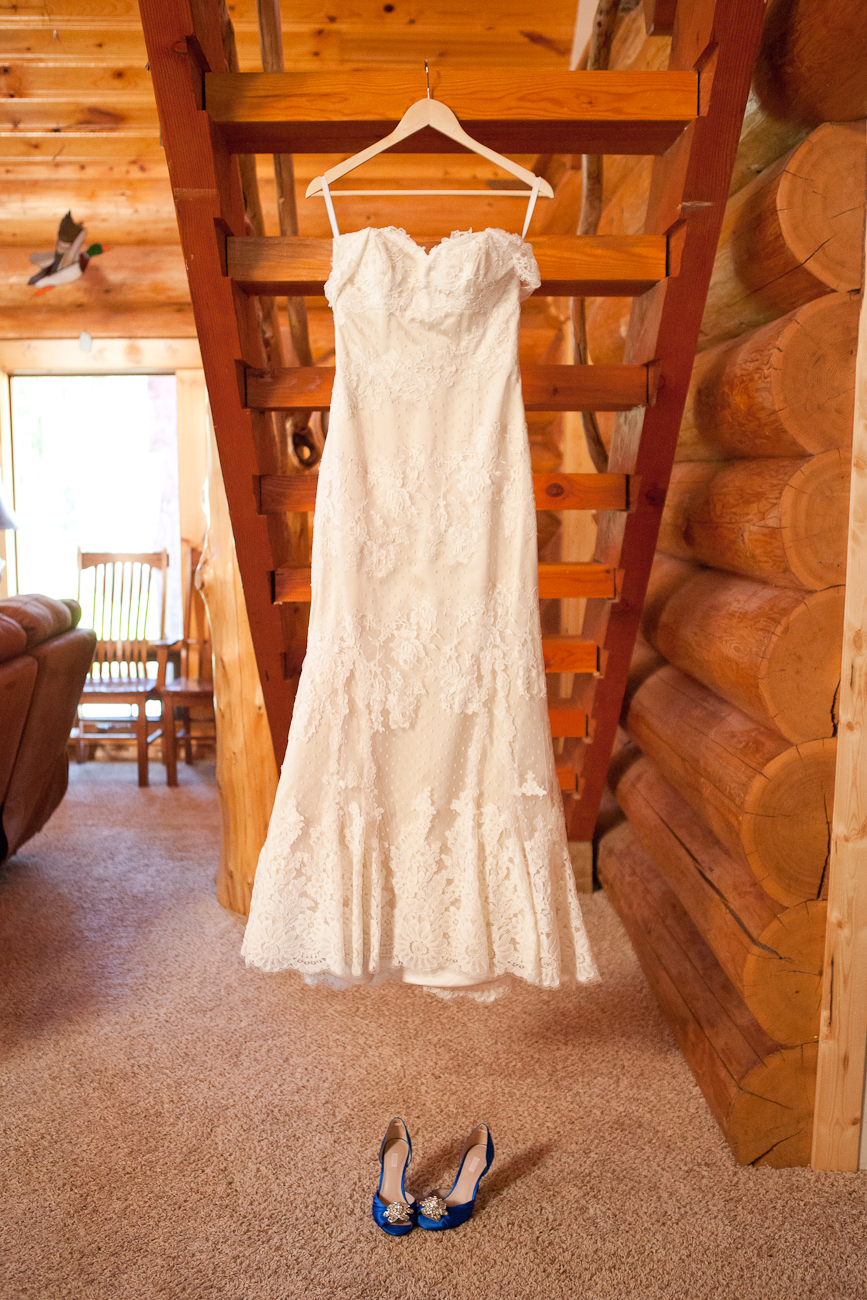 lace wedding dress hanging