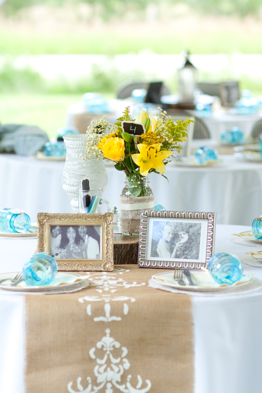 blue and white and yellow rustic wedding table settings