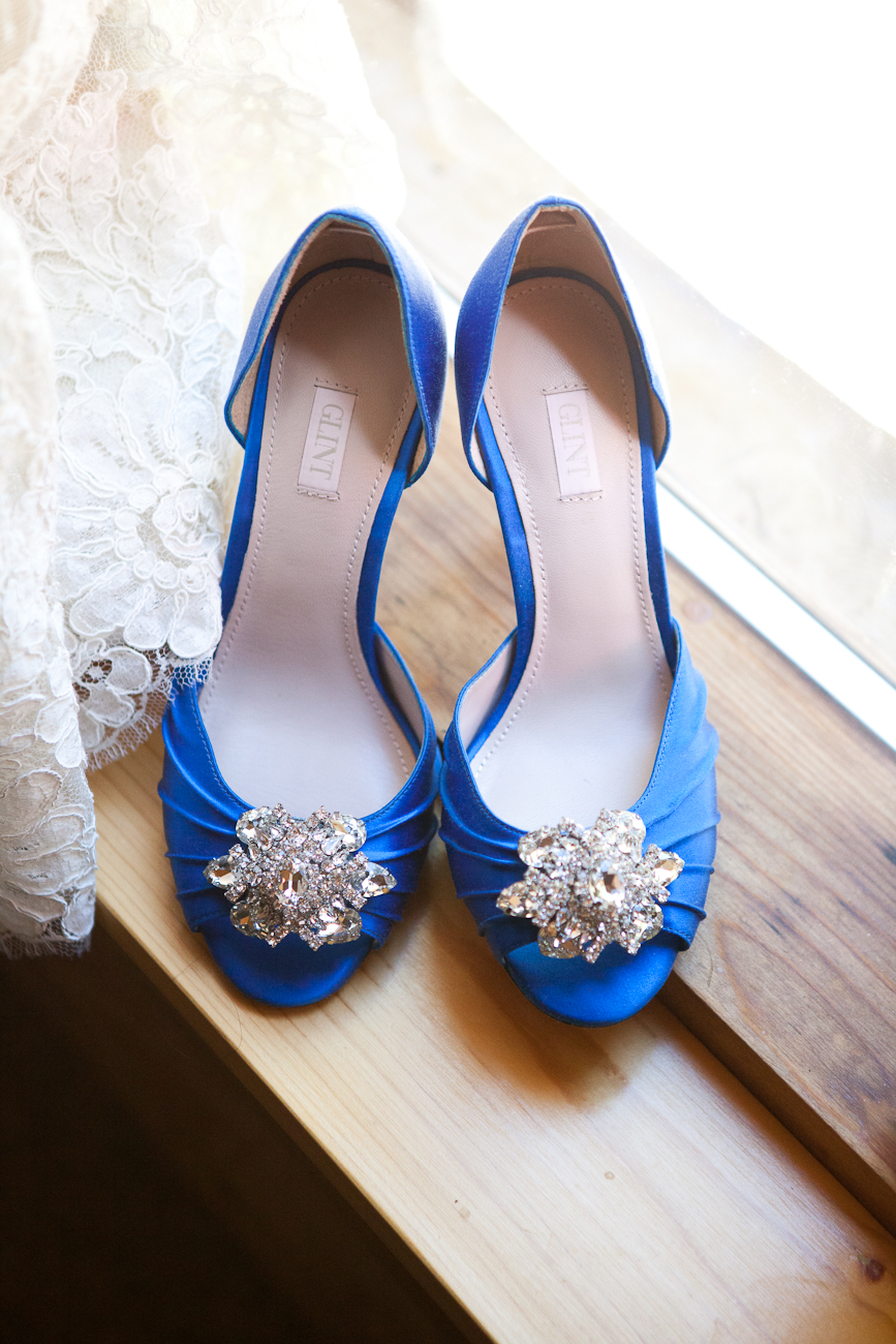 blue satin wedding shoes with peep toe and rhinestones