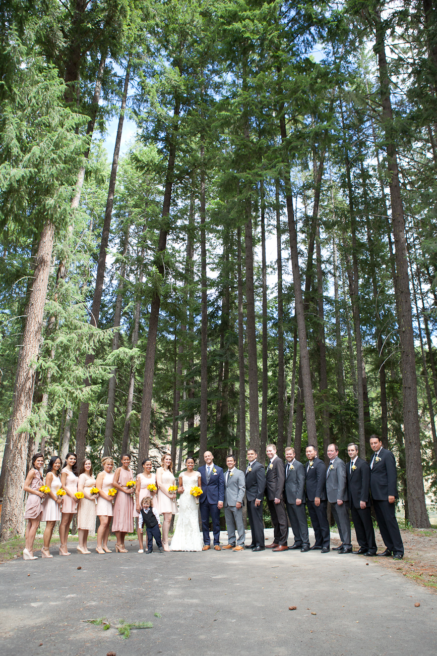 bridal party portraits in the woods