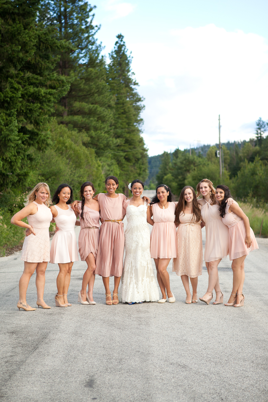 bridesmaids dresses mixed colors peach tan pink