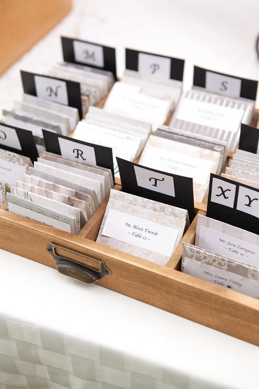 card catalog wedding placecard holder