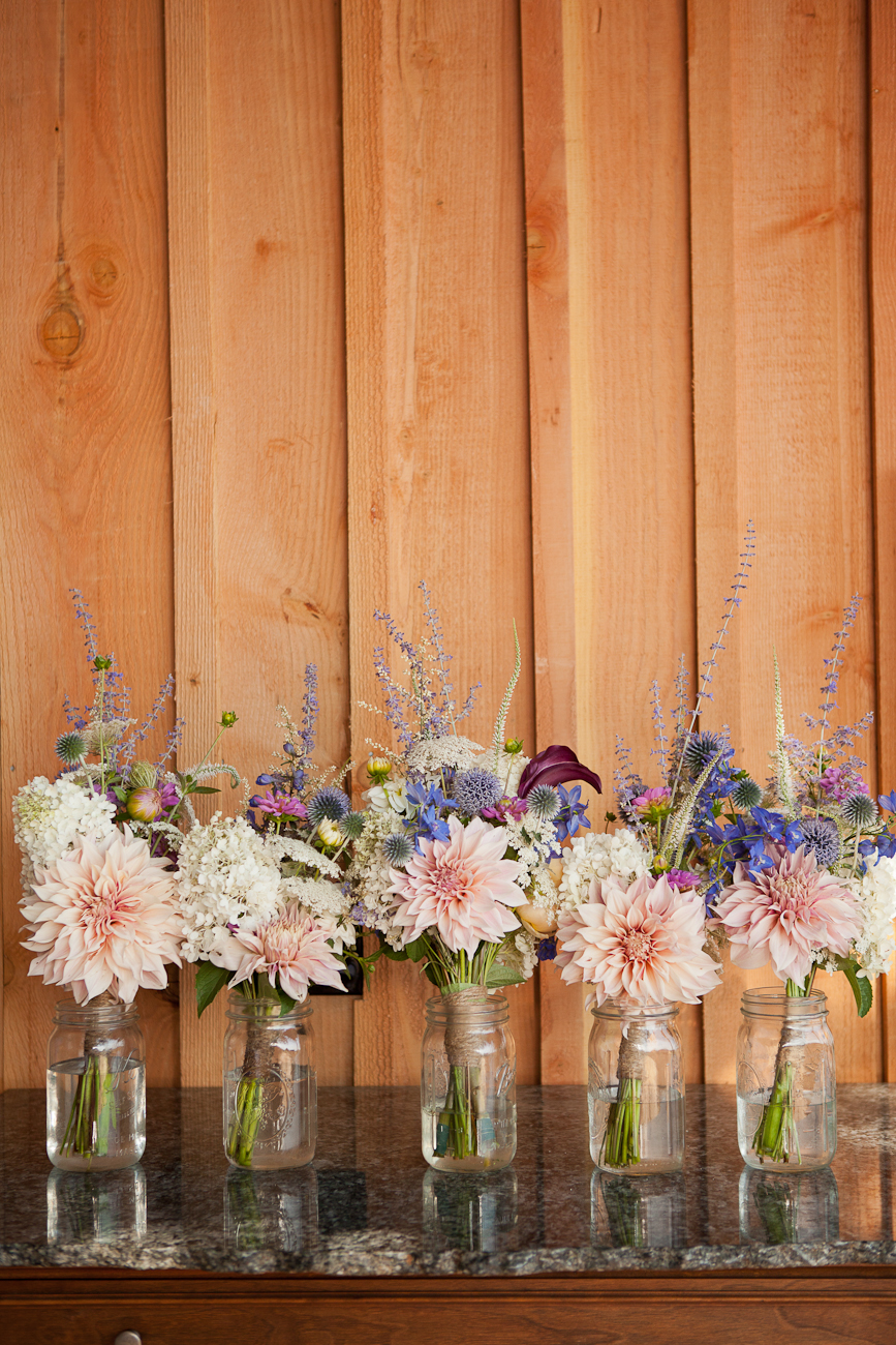 bridal_bouquets_mason_jars_twine_pink_peach_white_purple_blue_wildflowers