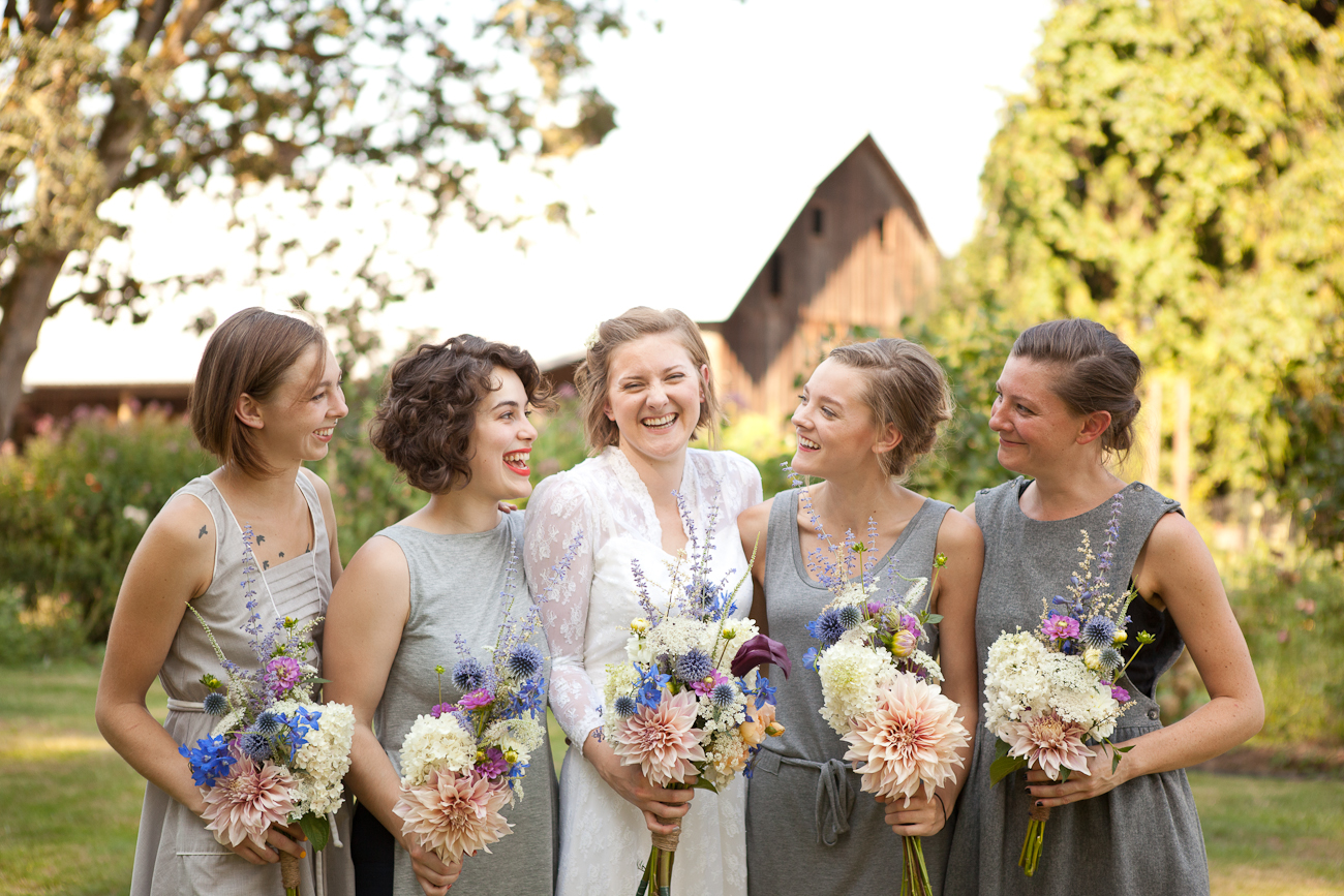 bridesmaids_grey_dresses_mixed_styles_rustic_wedding