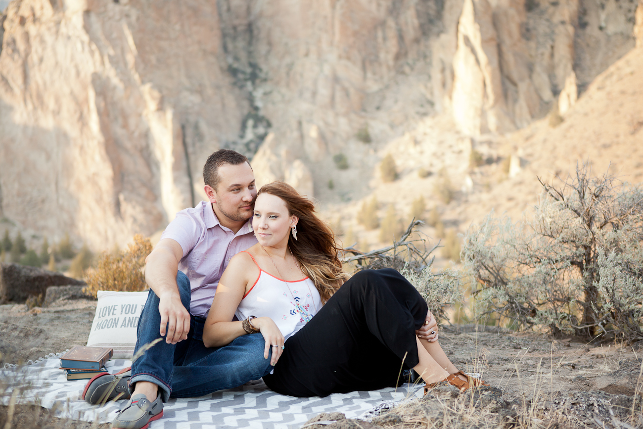 picnic blanket engagement photos