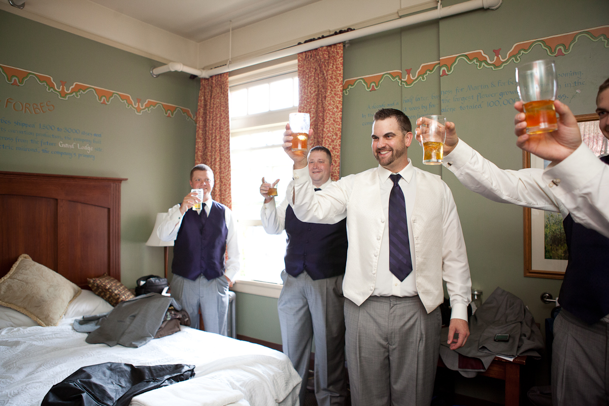 Boys Toasting Mcmenamins Forest Grove Guys Getting Ready Balcony Green Flower Boutoinnere Portland Wedding