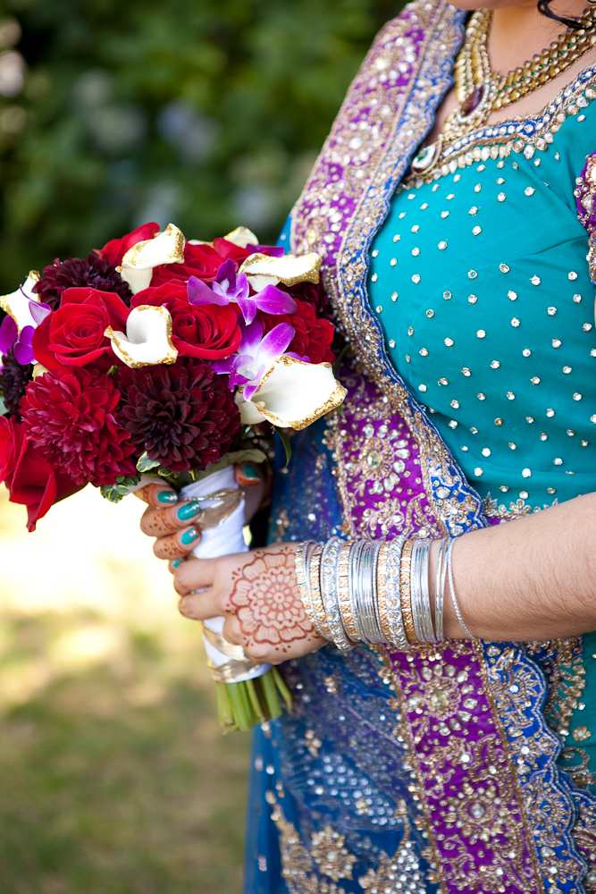 bride-with-teal-blue-purple-gold-sari