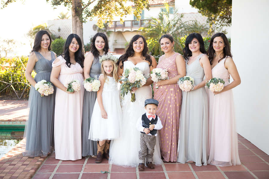 bridesmaids california wedding pinks greys long dresses