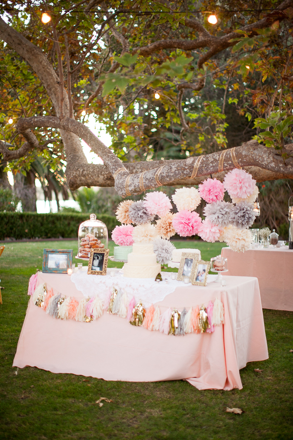 pink cream gold dessert table with tassels and poms-1