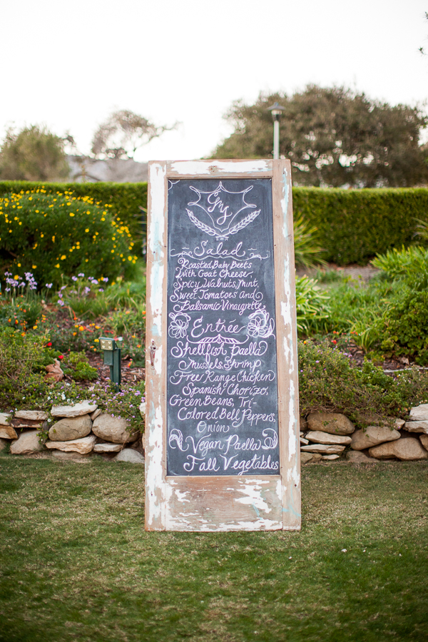 wedding food menu on reclaimed door as chalkboard-1
