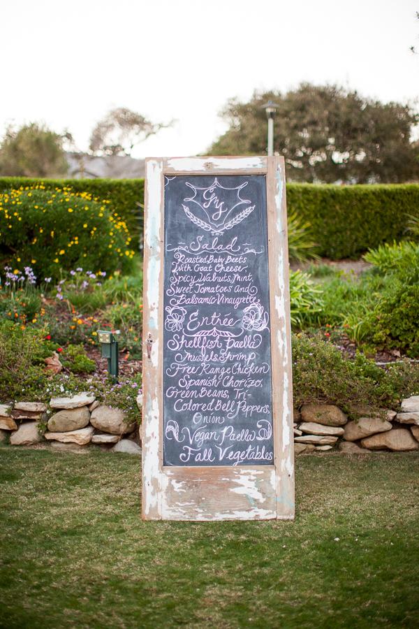 wedding food menu on reclaimed door as chalkboard-1